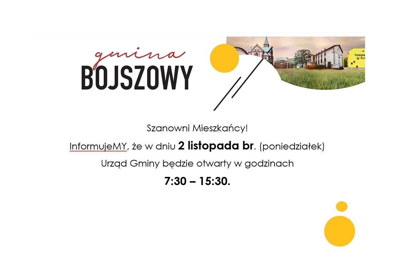 Informacja o otwarciu urzędu w dn. 02.11