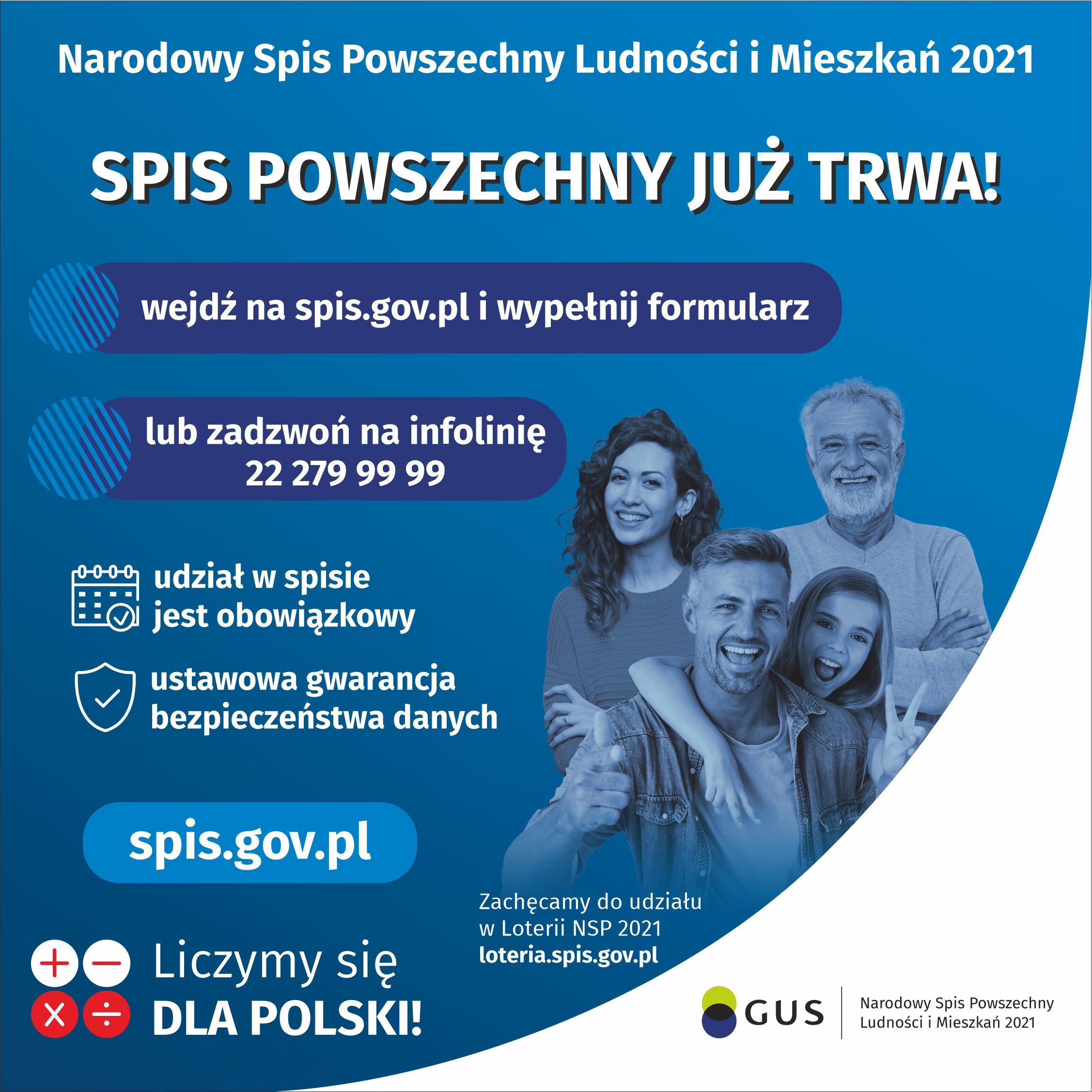 1 kwietnia rozpoczyna się Narodowy Spis Powszechny 2021, wejdź na spis.gov.pl i spisz się!