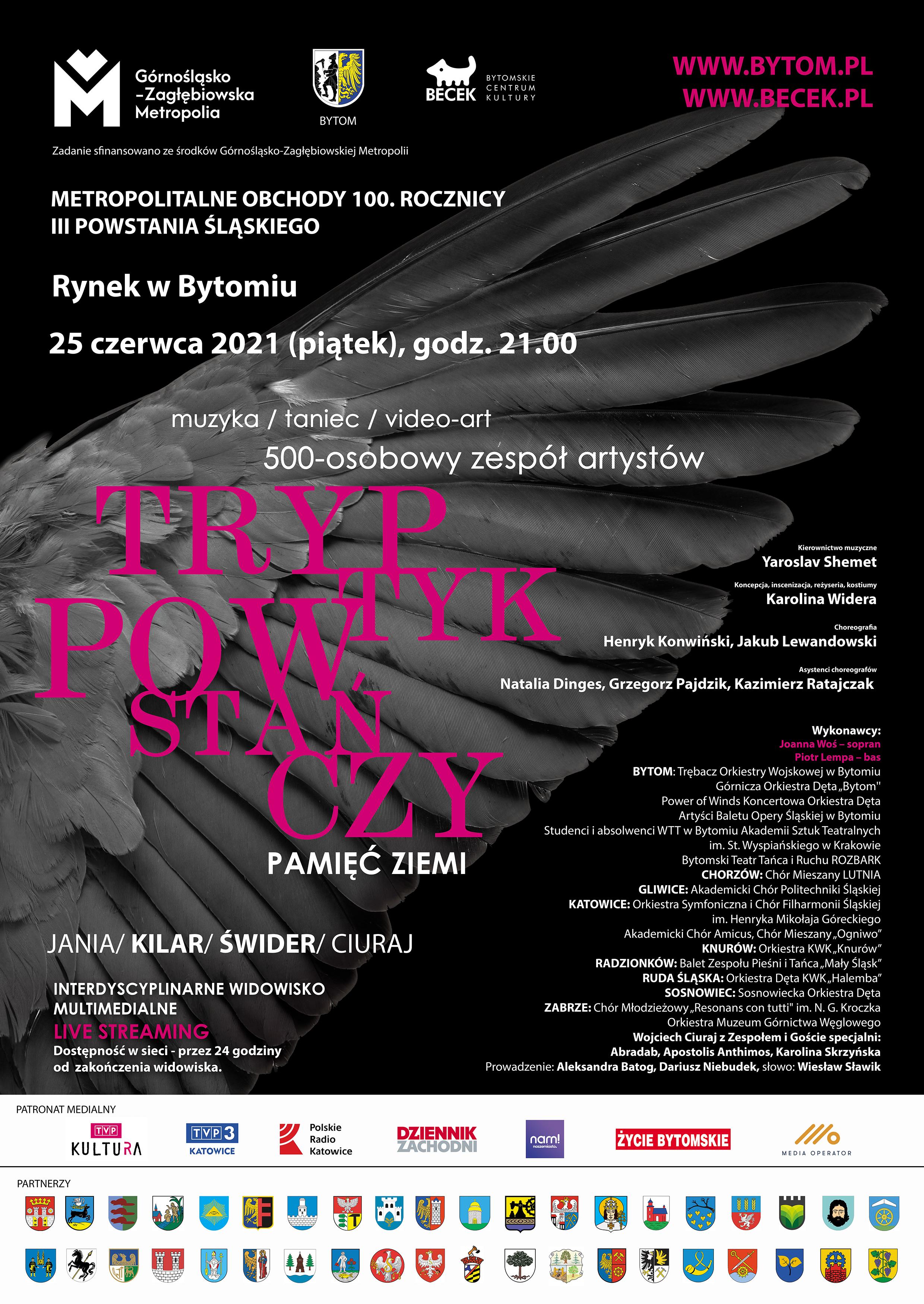 Plakat informujący o Widowisku Multimedialnym 25 czerwca o 21:00 na rynku w Bytomiu