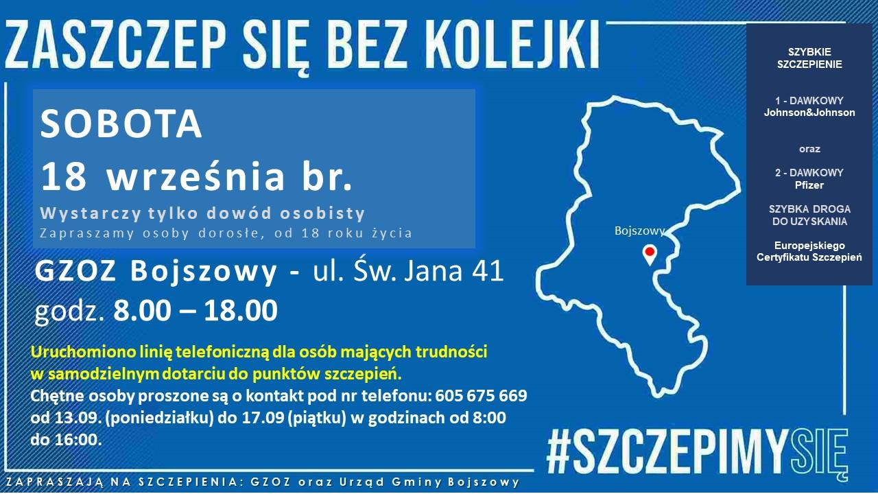 informacja o szczepieniu COVID19, 18 wrzesnia 8:00 - 18:00 GZOZ Bojszowy